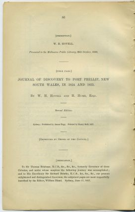 Journal of Discovery to Port Phillip, New South Wales, in 1824 and 1825 in the Royal Geographical...