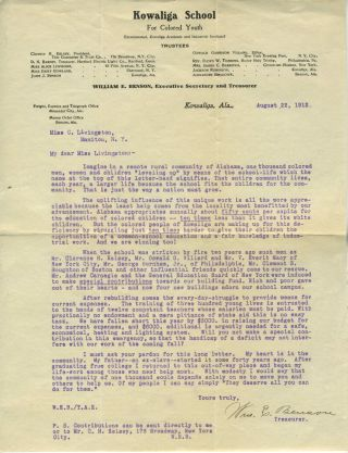 Kowaliga School for Colored Youth, charity appeal to a Garrison NY resident. African American,...