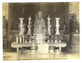 Chinese Laquered Coffin, and Shrine. 2 Albumen photographs.