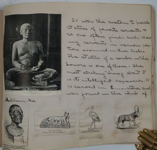 Ancient Egyptian art album, with annotations throughout. Susan E. Goelet Drake