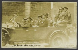 The Bremen Fliers Reception, real photo postcard. Aviation, New York City