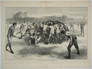 A Match at Football - the Last Scrimmage (Soccer). Soccer, England vs. Scotland, artist E....