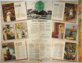 Matson Travel Offerings, Winter Season. Hawaii, Samoa, Fiji, New Zealand, Australia. [Color illustrated travel brochure with pictorial map].