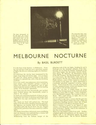 Melbourne by Night Photographed by W. L. Lucke-Meyer.