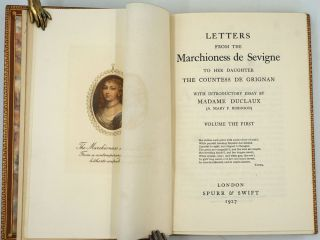 Letters From the Marchioness de Sevigne to Her Daughter the Countess de Grignan. 10 Volume set signed binding by Birdsall.
