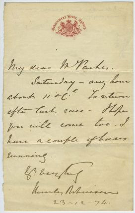 ALS, Governor of New South Wales, on horse racing. Sir Hercules George Robinson