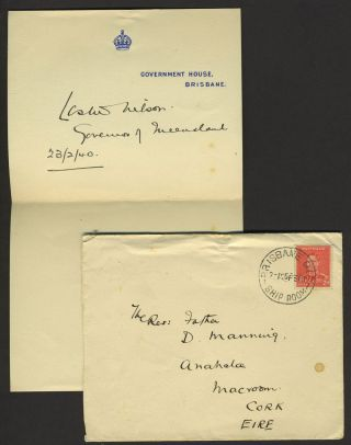 Autograph and cover, Governor of Queensland Australia. Sir Leslie Orme Wilson