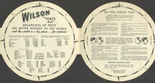 'The Wilson Atlas Pocket Edition. No Better Whiskey in the World'. Die cut advertising.