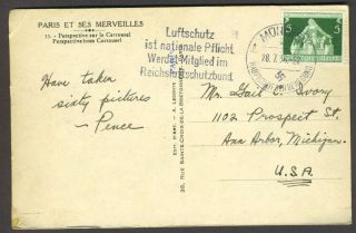 Postcard of Paris posted in Munich with a Nazi postmark, with possible 1936 Olympics connection.