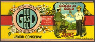 Good as Gold Jams - Lemon conserve, label. H W. Davidson, Co's