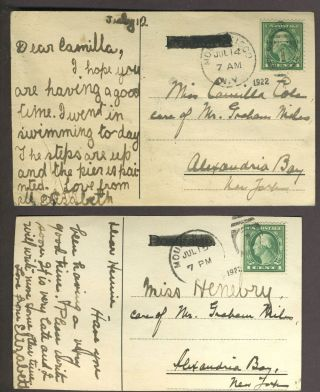 A series of a girl's hand-painted postcards with wealthy New York Society connections.
