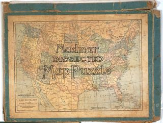 Madmar Dissected US Map. Wooden Puzzle. Map, puzzle map