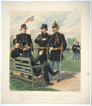 Staff and Line Officers [Full Dress] Chaplain & c. Chromolithograph. US Military, H. A. Ogden,...