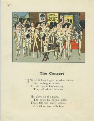 The Concert [Clothes pin dollies at a Golliwog concert]. Childrens