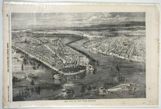 The City of New York. Wood engraving. New York City, Charles Cheltnam