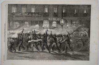 Torchlight Procession of the New York Firemen. Wood engraving. New York City firemen