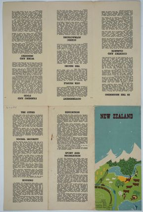 New Zealand, General Statistics. Folding Brochure with color map one side.