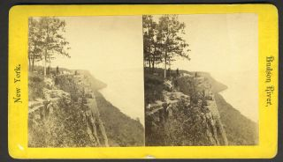 Hudson River [Looking North from top of Palisades]. NY Palisades, Stereoview
