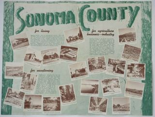 """Pictorial map of Sonoma County. """"Historic Sonoma County"""", Folding Brochure with color map one panel."""
