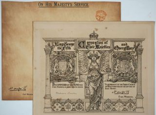 Coronation of Their Majesties King George the Fifth and Queen Mary. Invitation By Command of the King from the Earl Marshal, to Madame Bricka, tutor, friend & traveling companion to the Queen.
