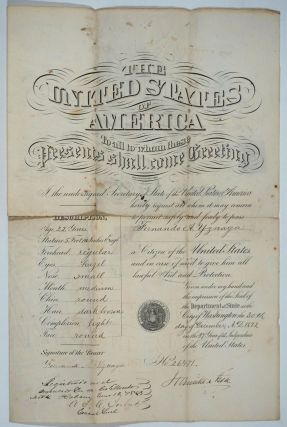 1872 American Passport, signed by Hamilton Fish and Fernando Yznaga. Hamilton Fish, Fernando Yznaga