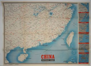 WWII Newsmap for the Armed Forces. China Southeast Coast. WWII, Map