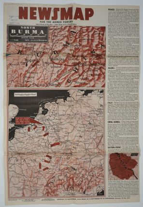 WWII Newsmap for the Armed Forces. Mindanao Philippines; Burma, France, Western Pacific, Palau...