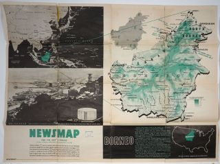 WWII Newsmap for the Armed Forces. Borneo. VE Day + 8 Weeks. WWII, Map