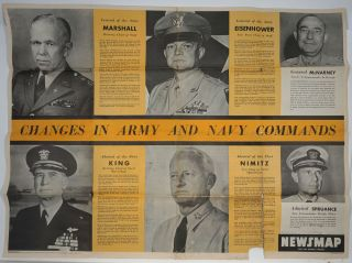 WWII Newsmap for the Armed Forces. Changes in Army and Navy Commands. WWII, Map