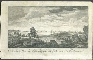 A South West View of the City of New York, in North America. Copper engraving. New York Ciry, Print