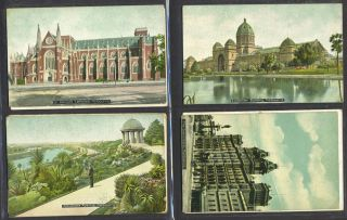 Melbourne Town Hall and an image of the Exhibition Building, postcard celebrating Great White...