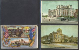 Melbourne Town Hall and an image of the Exhibition Building, postcard celebrating Great White Fleet. 7 postcards.