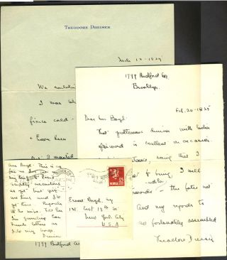 Three ALS letters, to Ernest Boyd, New York critic. Theodore Dreiser