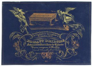 Kohaut Drieghe Fabricant & Garnisseur de Billards. Belgian Porcelain Trade Card