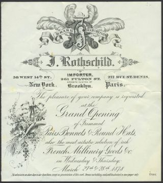 J. Rothschild, New York importer of French millinery. Grand Opening invitation