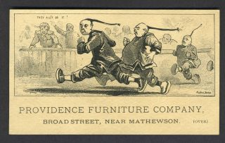 Providence Furniture Company. Anti Chinese trade card