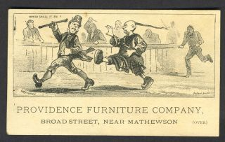 Providence Furniture Company. Anti Chinese and Anti Irish trade card