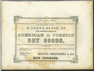 American & Foreign Dry Goods, North Bros., New Orleans. Trade handbill