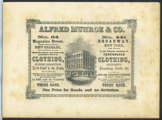 "New Orleans & New York ""one price"" clothing retailer, Alfred Munroe & Co. Trade handbill"
