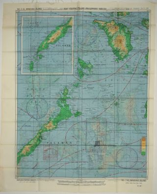 WWII US Army Air Force silk map, Philippine Series, No. C-41, Mindoro; No. C-42, Samar Island. Maps