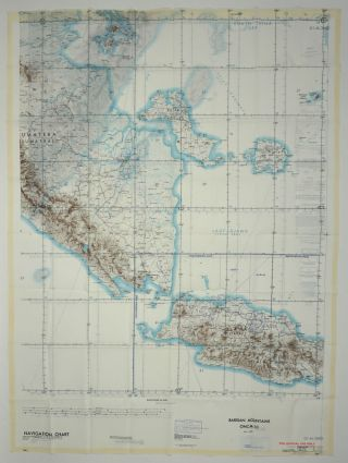 Vietnam War cloth map, Barisan Mountains, Indonesia ONC-M-10. Maps