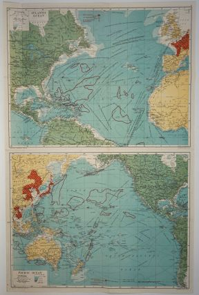 New War Map - 3 Maps in One. Consisting of: The Atlantic Ocean and Adjacent Countries, The Pacific Ocean and Adjacent Countries, The World on Mercators Projection.