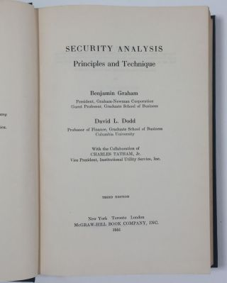 Security Analysis. Principles and Technique. With the collaboration of Charles Tatham, Jr.