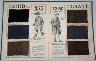 Clothing for Boys / Youths & Students, with fabric swatches.