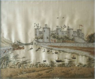 Crewel and Silk Embroidered Landscape; Conway Castle, North Wales with the Suspension Bridge....