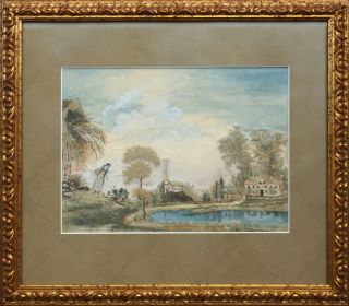 Silk & Watercolor Embroidered Landscape; A Woman and Child Playing by the Pastor's Pond.
