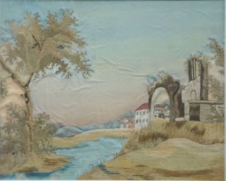 Silk & Watercolor Embroidered Landscape; Ancient Ruins and Farm Buildings at Dawn. Women,...