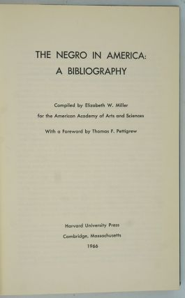The Negro in America: A Bibliography.