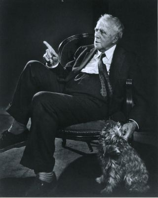 Robert Frost writing to Mr. Paquette, Autograph Letter Signed with photograph of Frost.