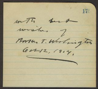 Autograph of Booker T. Washington, with photo.